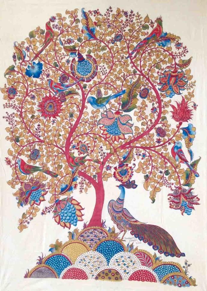 Tree Of Life With Peacock By Niranjan Jonnalagadda