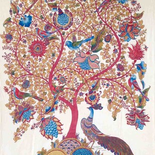 Tree of Life with Peacock by Niranjan Jonnalagadda, Folk Painting, Mixed Media on Cloth, Brown color