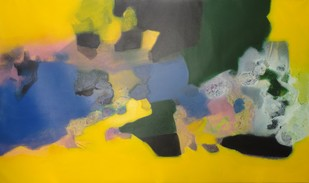 Untitled by Ravindra Parkhi, Abstract Painting, Mixed Media on Canvas, Green color
