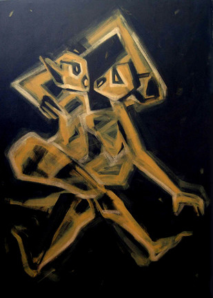 PASSION OF LOVE by Sukanta Chowdhury, Expressionism Painting, Acrylic on Canvas, Brown color