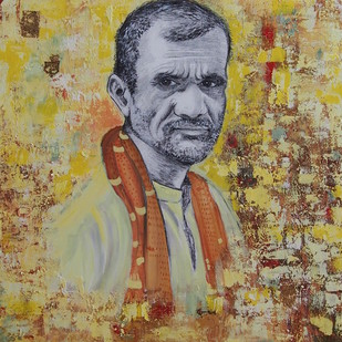Deshraj from Varanasi by Radhika Surana, Expressionism Painting, Acrylic & Graphite on Canvas, Beige color