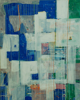 Layers by Harpreet Singh, Abstract Painting, Acrylic on Canvas, Green color
