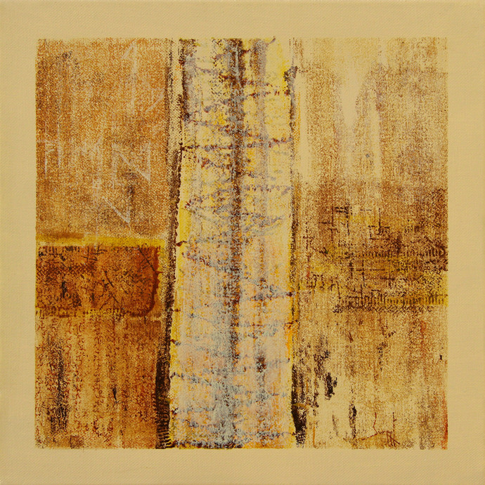 Untitled by Suneet Ghildial, Abstract Painting, Acrylic on Canvas, Beige color