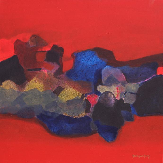 Untitled by Ravindra Parkhi, Abstract Painting, Mixed Media on Canvas, Red color