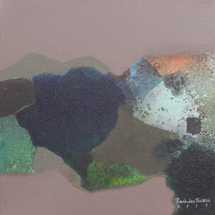 Untitled by Ravindra Parkhi , Abstract Painting, Mixed Media on Canvas, Brown color