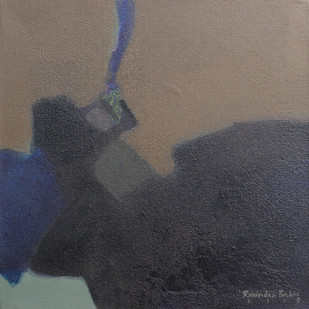 Untitled by Ravindra Parkhi, Abstract Painting, Mixed Media on Canvas, Gray color