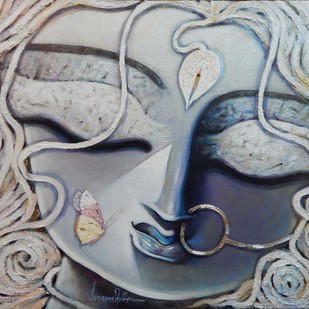 RADHA by Subrata Ghosh, Traditional Painting, Acrylic on Canvas, Gray color