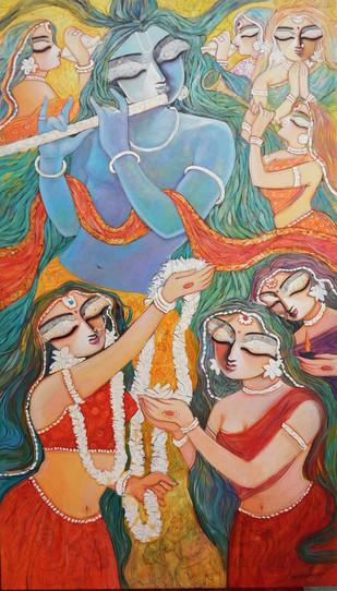 Untitled by Subrata Ghosh, Traditional Painting, Acrylic on Canvas, Brown color