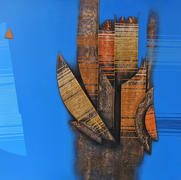 Untitled by Rahul Dangat, Decorative Painting, Acrylic on Canvas, Blue color
