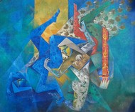 The Eves by Neeta Singh, Expressionism Painting, Acrylic on Canvas, Blue color