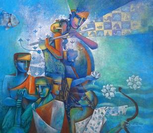 The Sharanagata by Neeta Singh, Decorative Painting, Acrylic on Canvas,