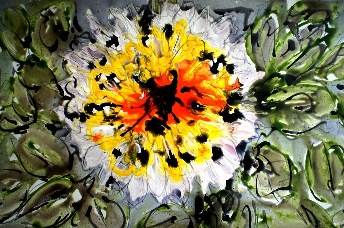 IMAGINATIVE FLOWERS by Baljit Singh Chadha, Impressionism Painting, Mixed Media on Paper, Green color