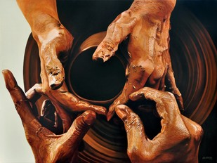 Creation by Sripriya Mozumdar, Realism Painting, Oil on Canvas, Brown color