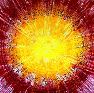 ETERNAL CIRCLE by Baljit Singh Chadha, Abstract Painting, Mixed Media on Canvas, Yellow color