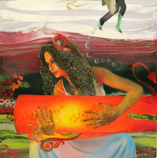 The Love Goddess 1 by Ankur Rana, Pop Art Painting, Oil on Canvas, Brown color