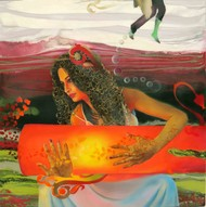 The Love Goddess 1 by Ankur Rana, Pop Art Painting, Oil on Canvas, Brown color