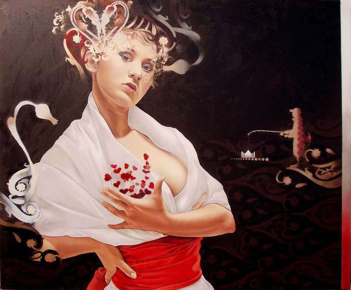 The Seductress by Ankur Rana, Pop Art Painting, Oil on Canvas, Brown color