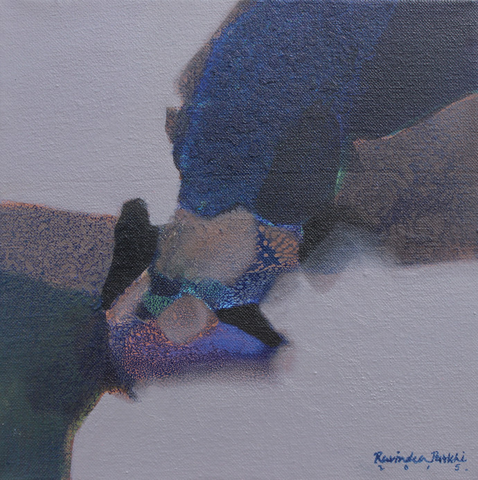 Untitled by Ravindra Parkhi, Abstract Painting, Mixed Media on Canvas, Brown color