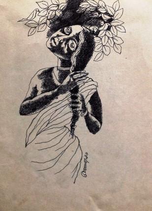 Untitled by Gopal Sanyal, Illustration Drawing, Ink on Paper, Beige color