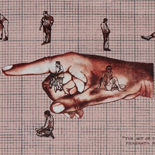 The act of touching by Prasanta Sahu, Pop Art Painting, Mixed Media on Paper, Brown color