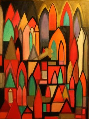 Windows of Faith II by Pratap SJB Rana, Geometrical Painting, Acrylic on Canvas, Brown color