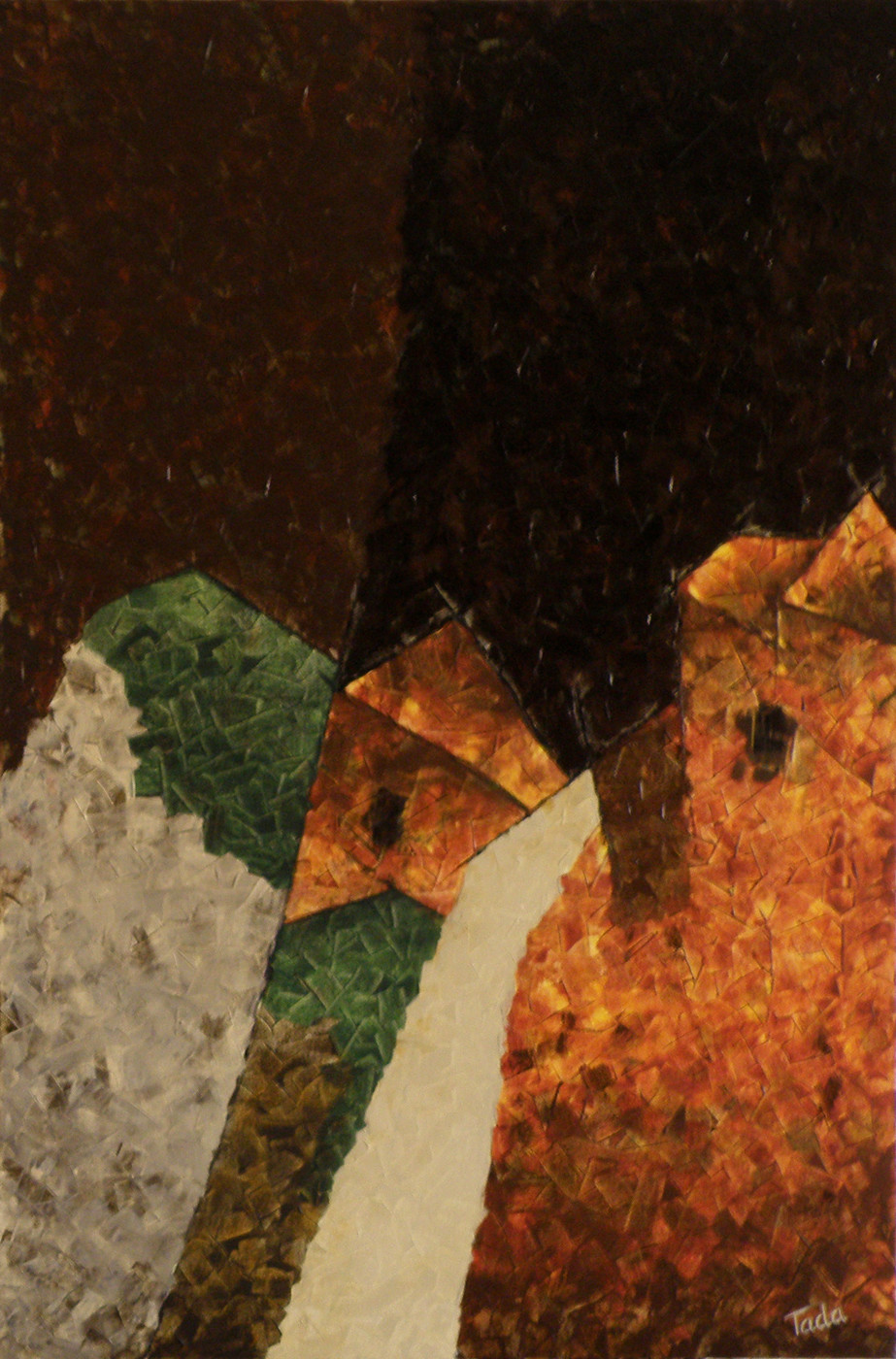 Fractal Dimensions . The Fall by Jaikishan Tada, Abstract Painting, Acrylic on Canvas, Brown color