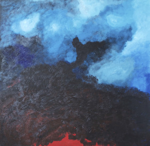 The Volcano Within by Mona Vayda, Abstract Painting, Acrylic & Graphite on Canvas, Blue color