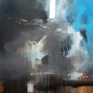 Space forming by Gulrez Ali, Abstract Painting, Acrylic on Canvas, Gray color