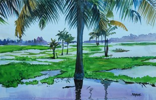After a rain... by Prabhakaran, Impressionism Painting, Watercolor on Paper, Green color