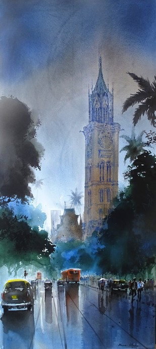 MUMBAI AFTER SHOWER I by Bhuwan Silhare, Impressionism Painting, Acrylic on Canvas, Blue color