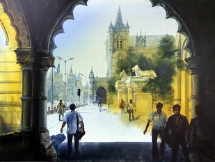 MUMBAI AFTERNOON by Bhuwan Silhare, Impressionism Painting, Acrylic on Canvas, Beige color