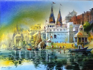 VARANASI GHAT XXII by Bhuwan Silhare, Impressionism Painting, Acrylic on Canvas, Green color