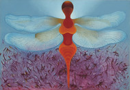 Dragon Fly 1 by Shailja Shah, Decorative Painting, Oil on Canvas, Cyan color