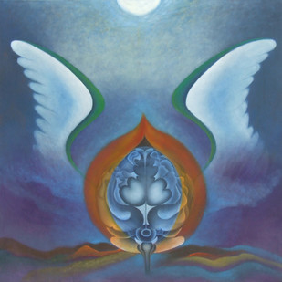 Peace by Shailja Shah, Surrealism Painting, Oil on Canvas, Blue color