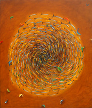 Shoal by Shailja Shah, Surrealism Painting, Oil on Canvas, Orange color