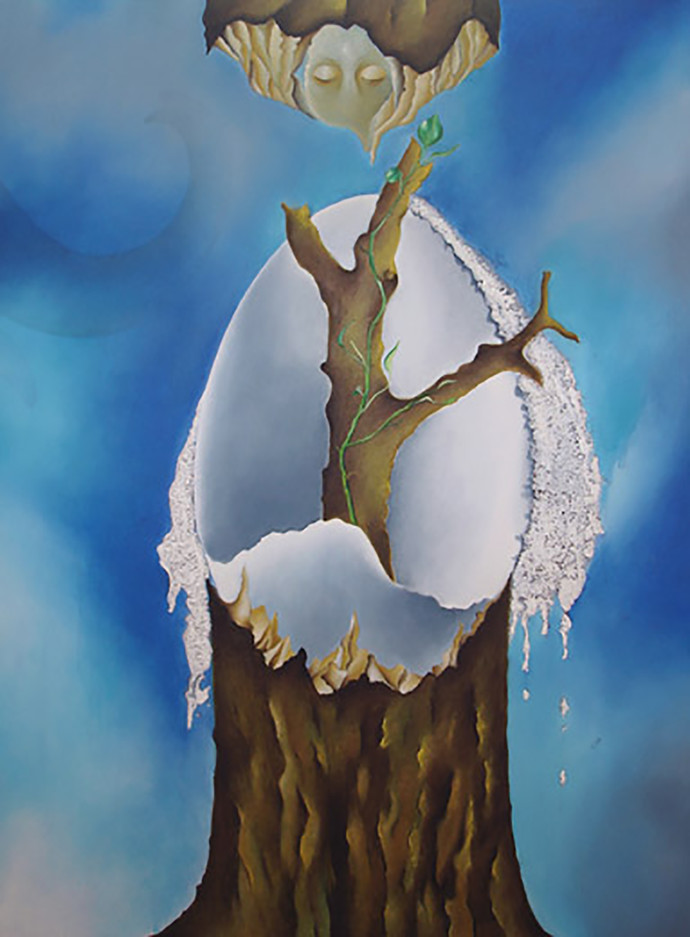 Life by Shailja Shah, Surrealism Painting, Acrylic on Canvas, Blue color