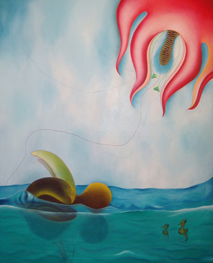 Life in Water by Shailja Shah, Surrealism Painting, Oil on Canvas, Cyan color