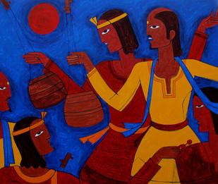 Folk Singer Digital Print by Jiaur Rahman,Traditional