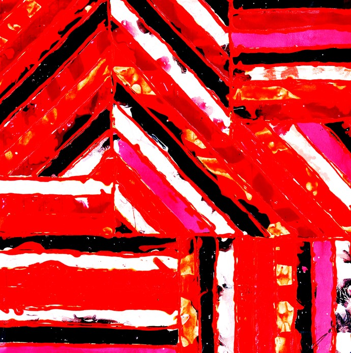 ALIEN CODES - RED by Baljit Singh Chadha, Abstract Painting, Mixed Media on Canvas, Red color