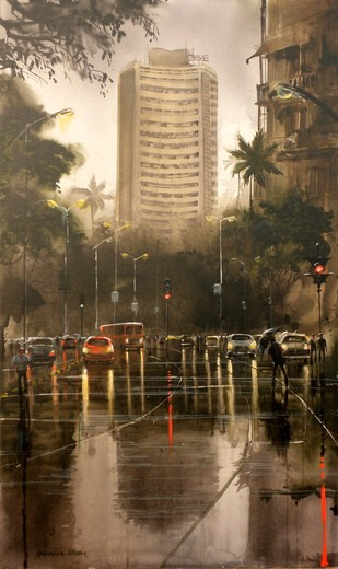 RAINY CITY VI by Bhuwan Silhare, Impressionism Painting, Acrylic on Canvas, Brown color
