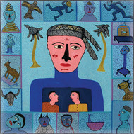 A Boy from Mauritius by Madhvi Parekh, Expressionism Serigraph, Serigraph on Paper, Blue color