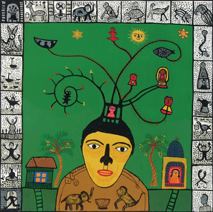 The Magician by Madhvi Parekh, Expressionism Serigraph, Serigraph on Paper, Green color