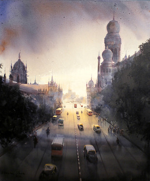 MUMBAI FOREVER by Bhuwan Silhare, Impressionism Painting, Acrylic on Canvas, Gray color