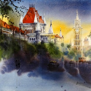 5'O Clock Shadow(Mumbai) by Bhuwan Silhare, Impressionism Painting, Acrylic on Canvas, Brown color