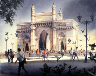 MUMBAI FOREVER by Bhuwan Silhare, Impressionism Painting, Acrylic on Canvas, Beige color