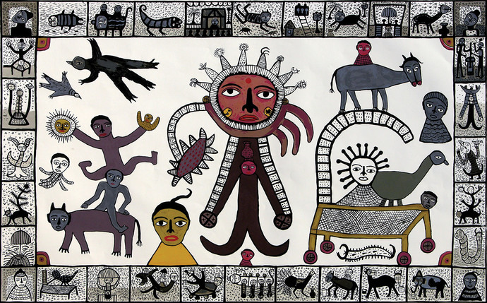 Sun God in my Village by Madhvi Parekh, Expressionism Serigraph, Serigraph on Paper, Gray color