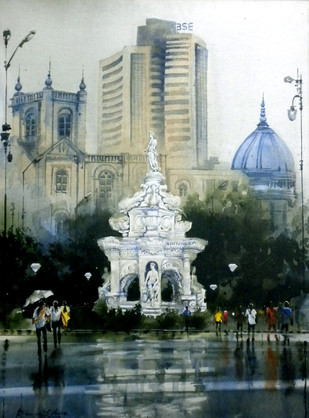 MUMBAI AFTER SHOWER by Bhuwan Silhare, Impressionism Painting, Acrylic on Canvas, Green color