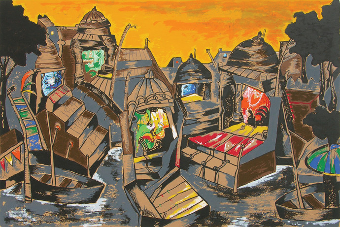 Evening at Banaras by Manu Parekh, Impressionism Serigraph, Serigraph on Paper, Brown color