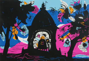 Banaras in Pink by Manu Parekh, Impressionism Serigraph, Serigraph on Paper, Blue color