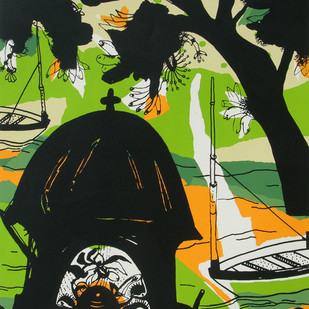 Banaras in Green by Manu Parekh, Impressionism Serigraph, Serigraph on Paper, Green color